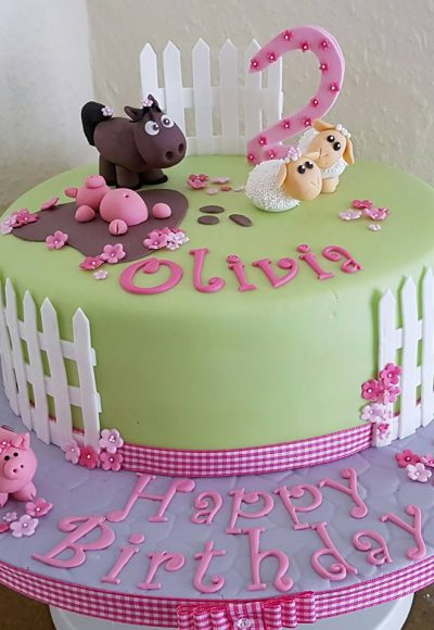 Farmyard Animals 2nd Birthday Custom Cake Southampton