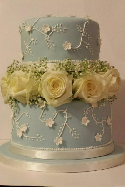Blue Wedding Floral Custom Cake Southampton