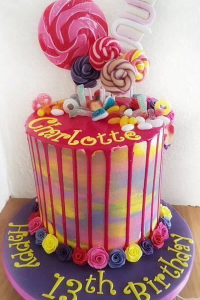 Rainbow Drizzle Custom Cake Southampton