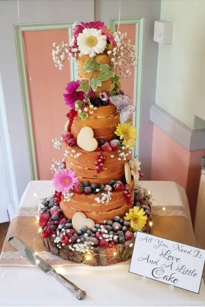 Naked Floral Bare Wedding Custom Cake Southampton