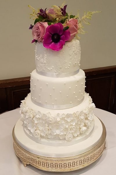 Wedding Floral Lace Custom Cake Southampton
