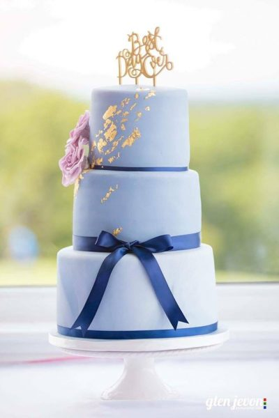 Blue Wedding Custom Cake Southampton